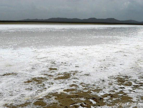 Соляные отложения рядом пляжем в Кабо де ла Вела