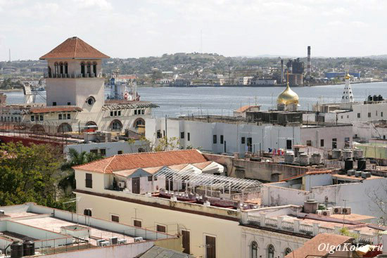 Вид сверху на русскую православную церковь