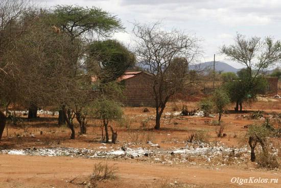 Мусор в кенийской деревне вдоль трассы