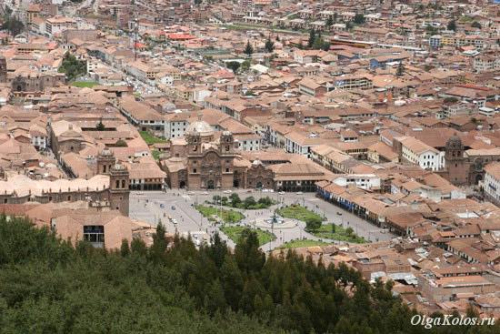 Вид сверху на исторический центр Куско