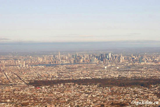 Вид на Нью-Йорк из самолета